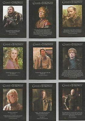 """Game of Thrones Season 1 - """"Quotable"""" Set of 9 Chase Cards #Q1-9"""