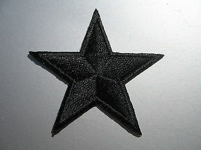 Small Black Star Embroidered IRON-ON PATCH lucky punk rock goth emo hippy 4.5cm