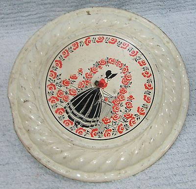 Antique Lady Bonnet Red Flowers Old Chimney Stove Pipe Tin Flue Cover FREE S/H