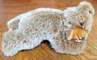 """Hermann Original Teddy Bear Lying Down Mouth Open 7"""" West Germany Excellent"""