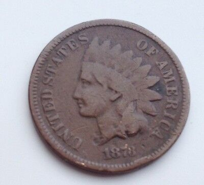 Scarcer Date 1878 Indian Head One Cent Coin