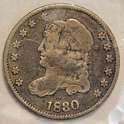 """1830 """"CAPPED BUST"""" HALF DIME """"TYPE COIN"""" 5c SILVER COIN"""