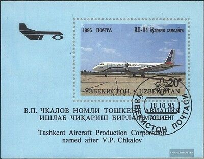 Uzbekistan block8 (complete issue) used 1995 Aircraft out tschk