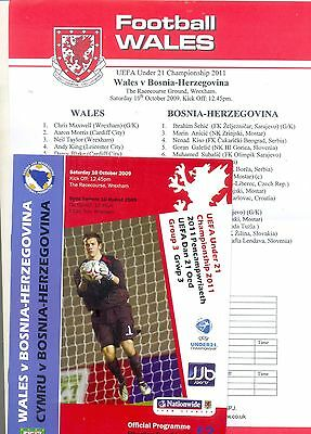 WALES v BOSNIA - HERZEGOVINA Under 21 Championship 10 Oct 2009 + team sheet