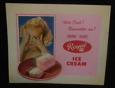 VINTAGE 1950's ROYAL DAIRY ICE CREAM FOOD GROCERY STORE COUNTER DISPLAY SIGN
