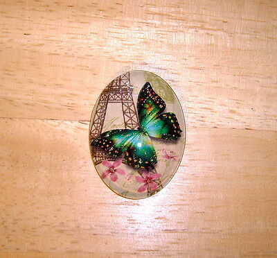 30X40mm Butterfly Collage Glitter Unset Handmade Art Bubble Cameo Cabochon