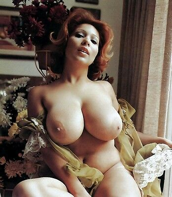 60s Nude red head pinup sporting behemoth Breasts 8 x 10 Photograph