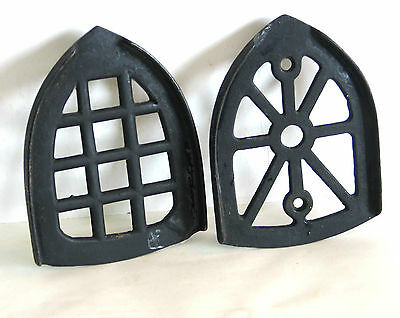 2 ANTIQUE Sad Iron Stands Trivets Cast Iron FREE SH