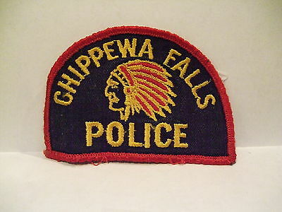 police patch  CHIPPEWA FALLS POLICE WISCONSIN  INDIAN HEAD