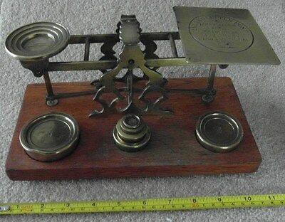 Rare Set of Large Antique Brass Postal Scales & Weights Letter Scales - Oak Base