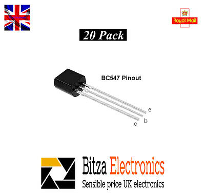 BC547 NPN Silicon Transistor - Pack of 20 Uk Seller