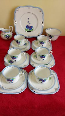 Lovely Tuscan China Art Deco 21 Piece Hand Painted By( Bramwell Bowery )