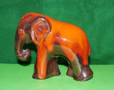 Unmarked Stoneware Brown and Orange Elephant