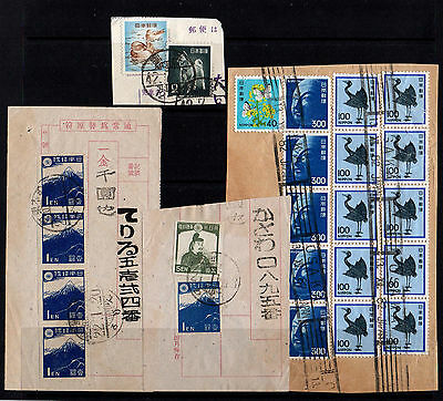 Japan Collection Of 26 Old Stamps On Part Covers Good Used & Postmarks