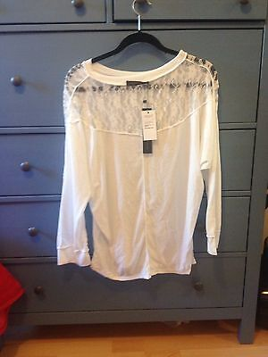 White Top With Lace Panel Size XL 14/16