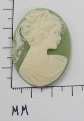 70246      Cameo -  Vict. Lady w/Long Hair   Sage/wht. Oval 30x40  - by dz. SALE