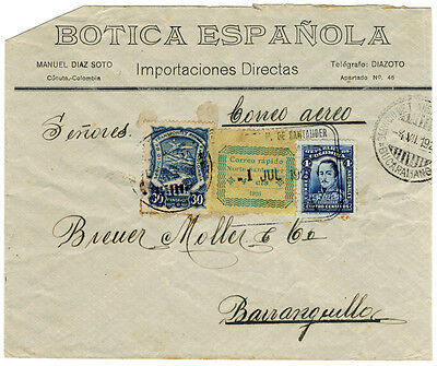 (I.B) Colombia Postal : SCADTA Air Mail Cover (Baranquilla 1927)