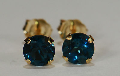 Radiant! Genuine Natural Mined London Blue Topaz Earrings~14 Kt Yellow Gold~5Mm