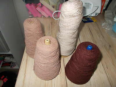 4 Cones of Brown Machine Knitting Acrylic Wool. Over 600g