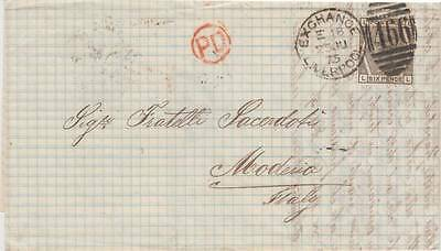 1875 6d. grey on LIVERPOOL EXCHANGE to MODENA entire.