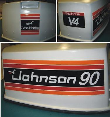 Johnson Outboard Hood Decals V4 1981 90 hp