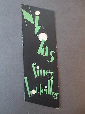 Vintage BOOKMARK FRENCH Nicolas Fines Bouteilles Draeger Illustrated Advertising