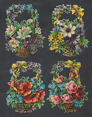 S1505 Victorian Die Cut Scraps: 4 Flower Baskets