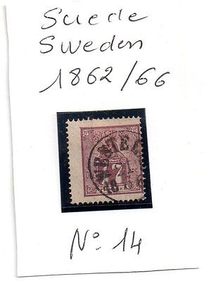 Suede / Sweden   Timbre    N° 14   Obl  1862  / 1866