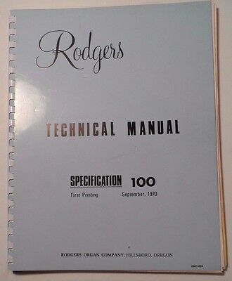 Original Rodgers Organ Technical Manual Specification 100