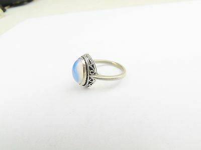 Vintage Solid Silver Moonstone Set Solitaire Ladies Ring Size N