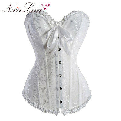 Womens Waist Training Brocade Boned Lace Up  White Corset Bustier Top Size 4XL