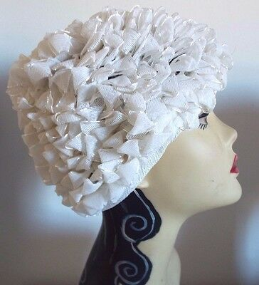VINTAGE HAT  1950's Ivory and Silver Tipped Loop Straw Cloche