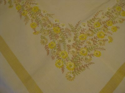 Pretty vintage cotton print tablecloth light ecru with floral print 48x52