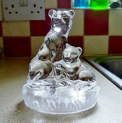 Lioness with Cub. Solid Glass.