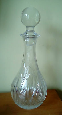 Heavy Cut Glass Decanter With Leaf Design. Height 13""