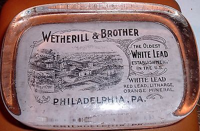 Antique 1800s paperweight Wetherill & Brother White Lead Works Philadelphia Pa