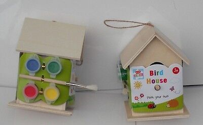 Paint Your Own Wooden Bird House Kit Small Garden Nesting Craft Box