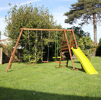 Kids Outdoor Play Centre Climbing Frame See Saw Glider Slide Wooden Swing Set