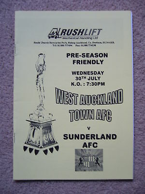 WEST AUCKLAND v SUNDERLAND FRIENDLY 2003 PROGRAMME