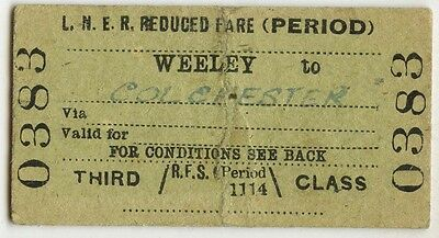 Railway Ticket; LNER. Weeley to Colchester 1942