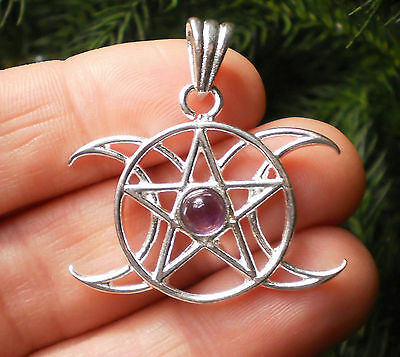 Triple Moon Goddess Moon Phases Pentacle Pendant with Purple Amethyst Jewelry