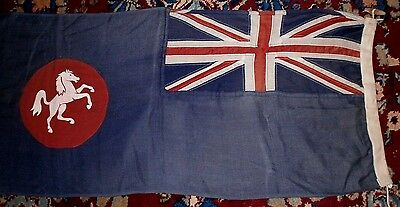 """VINTAGE BLUE ENSIGN,PANEL STITCHED  UNION JACK FLAG WITH RAMPANT HORSE 39""""x 18"""""""
