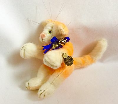 """Hermann Teddy Miniature Limited Edition, 3"""" Orange Cat, Long Tail Whiskers Bells"""