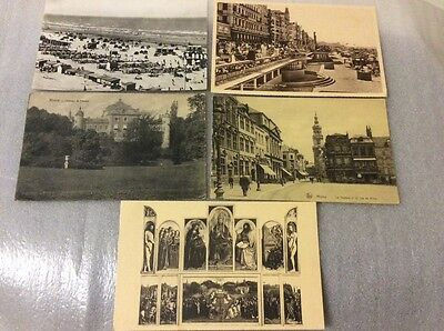 Belgium. 5 old postcards.  Please see photos for description