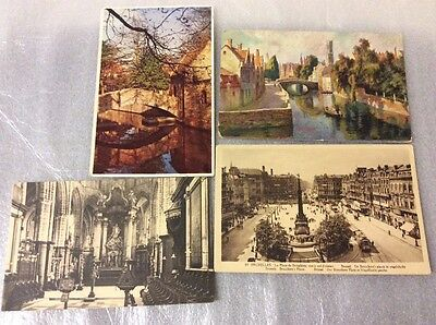 Belgium. 4 old postcards.  Please see photos for description