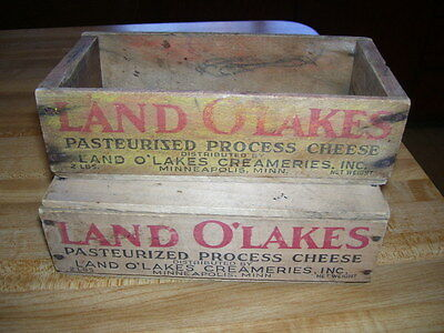 Pair of Vintage Land O Lakes Primitive Wood Cheese Boxes