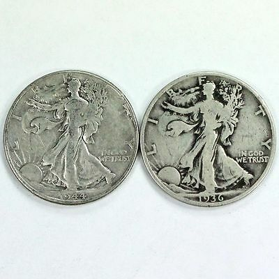 Group Lot of 2 Walking Liberty Silver Half Dollars 90% Silver