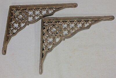 "2 Shelf brackets 5"" X 7"" old Gothic clover cast iron vintage clean supports"