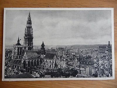 Antique B&W postcard of Antwerp (Hoofdkerk panorama)