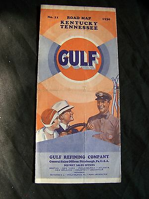 Gulf Gas Road  Map -  Kentucky, Tennessee - 1930